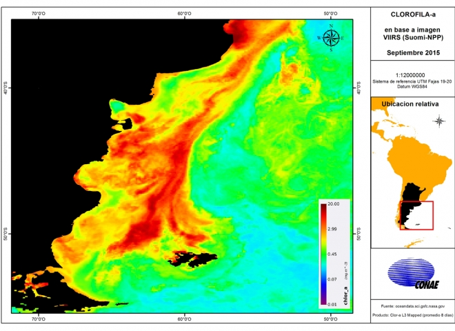 Mapa de Clorofila. Fuente: CONAE