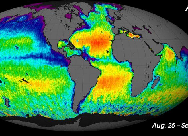 Primer mapa de Salinidad-Aquarius. Fuente: CONAE