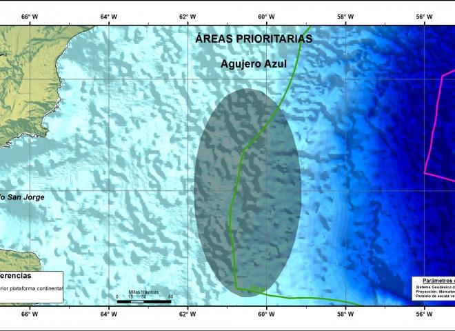 Mapa Frente del Talud Continental/Agujero Azul